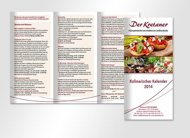 Der Kretaner griechisches Restaurant Flyer kulinarischer Kalender
