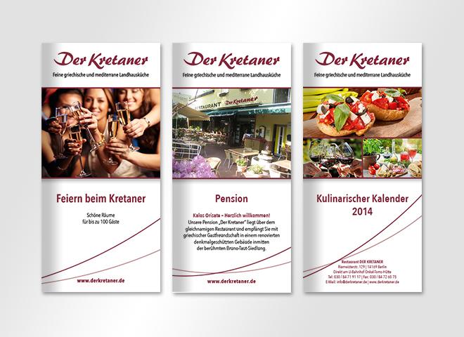 Der Kretaner griechisches Restaurant Flyer Feiern Pension Kulinarischer Kalender