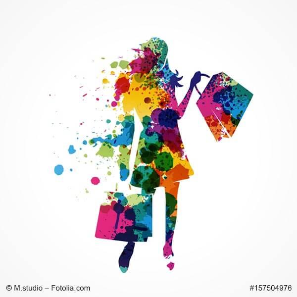 Künstlerische Grafik einer Frau mit Einkaufstaschen Marketingkolumne DER Mittelstand. Ausgabe 04-17