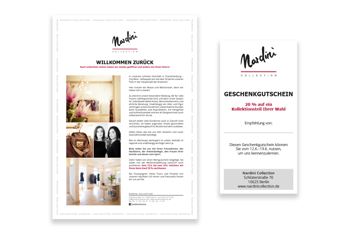 Newsletter und Gutschein Nardini Collection