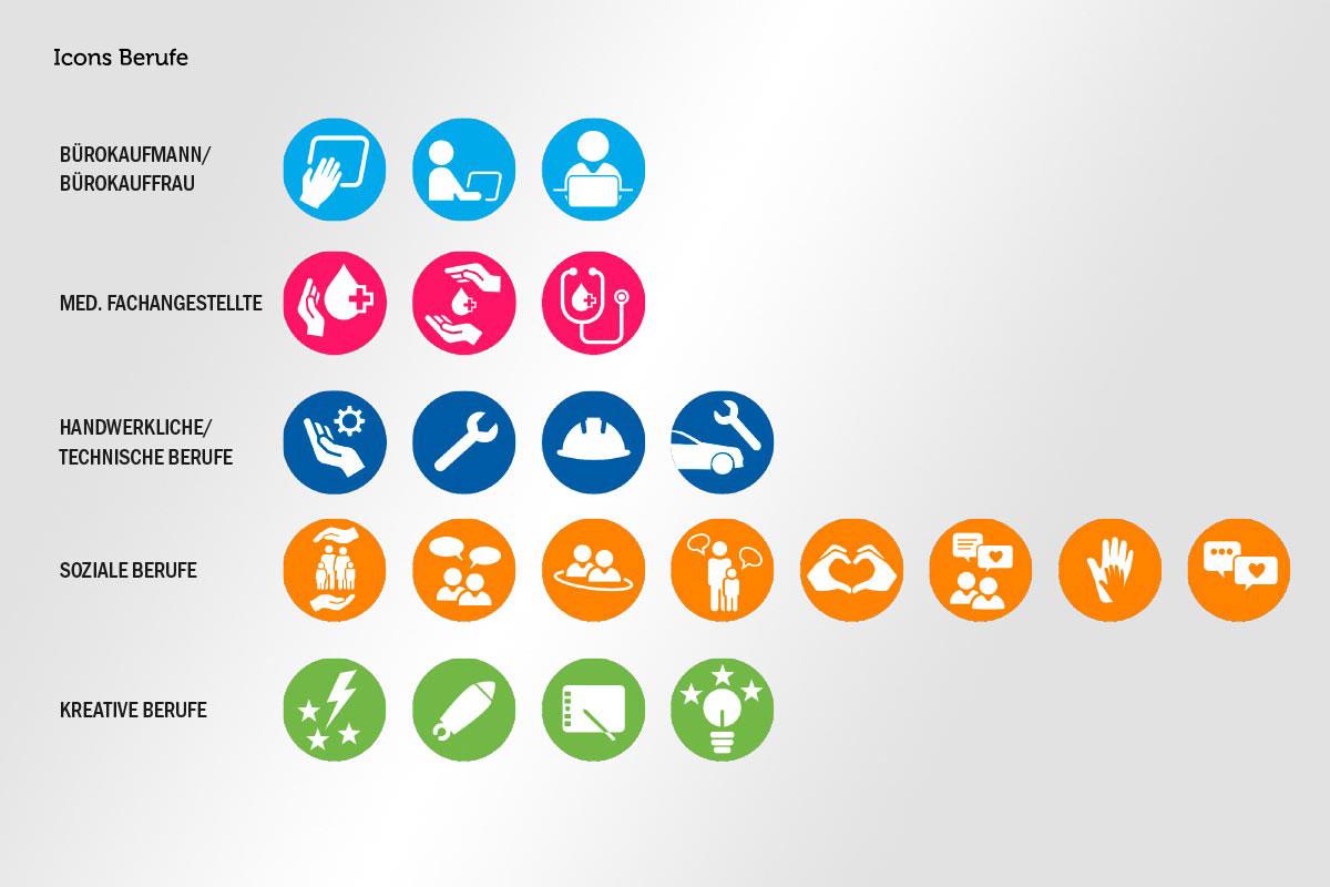 Queraufstieg Icons