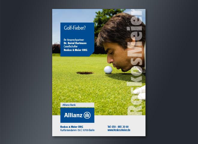 Allianz Versicherung Roskos Meier Berlin Kurfuerstendamm Golfen Golfball Bank englischer rasen gestaltung Mattheis werbeagentur
