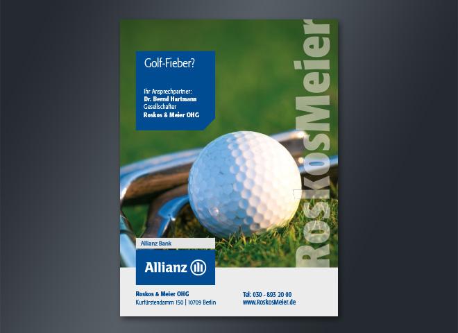 Roskos Meier Allianz Versicherung Golfball golfen rasen grün blau pantone fieber golfschläger gestaltung mattheis werbeagentur