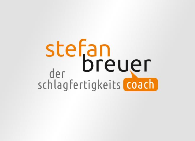 Stefan Breuer Corporade Design Logo Schlagfertigkeits Coach Orange Grau Schwarz Sprechblase gestaltung mattheis werbeagentur
