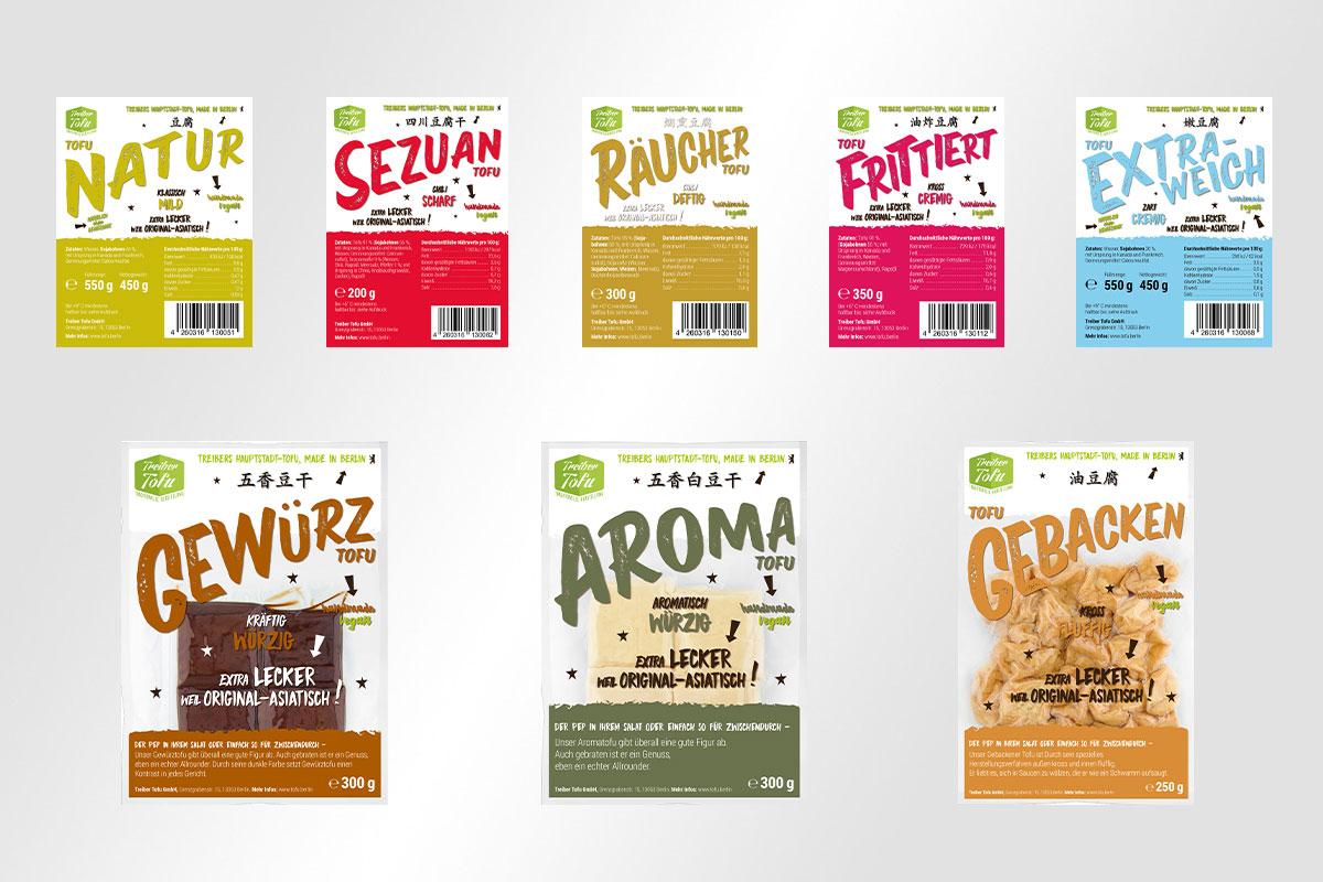 Varianten Treiber Tofu Verpackungsdesign