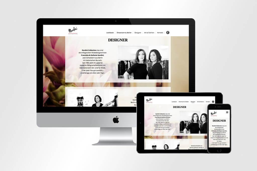 Responsive Webdesign für Nardini Collection Mode aus Berlin