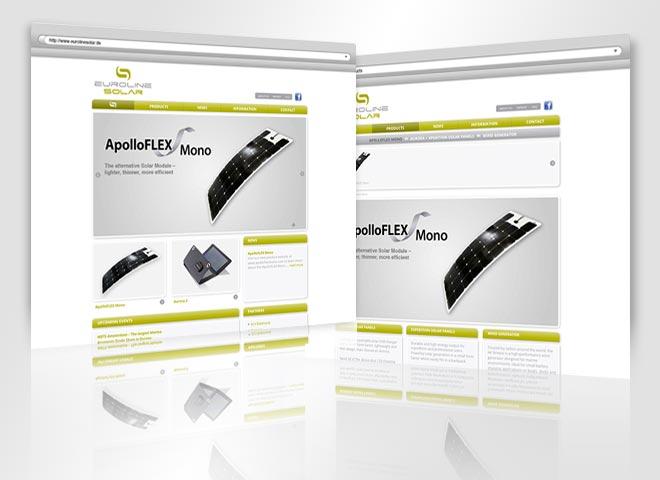 Euro-Line Solar GmbH Website, gestaltet von der mattheis. werbeagentur berlin gmbh