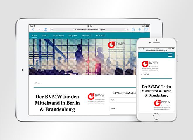 Responsive Website vom BVMW für den Mittelstand berlin Brandenburg dargestellt auf Tablet und Smartphone Gestaltung und Programmierung Mattheis Werbeagentur