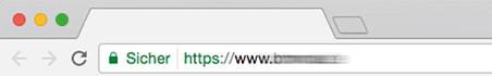 Beispiel für eine sichere Website, die auf https:// umgestellt ist