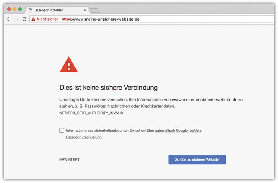 Warnmeldung für eine unsichere Verbindung von Google Chrome