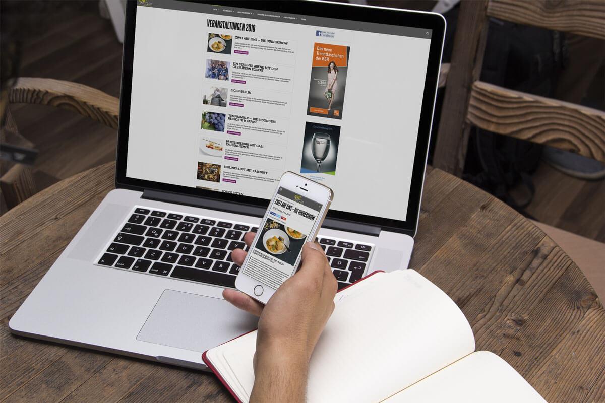 Laptop und Smartphone Ansicht der eat! berlin Webseite | mattheis. Werbeagentur