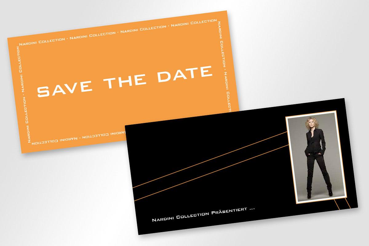 Save the date und Einladungskarte für Nardini Collection