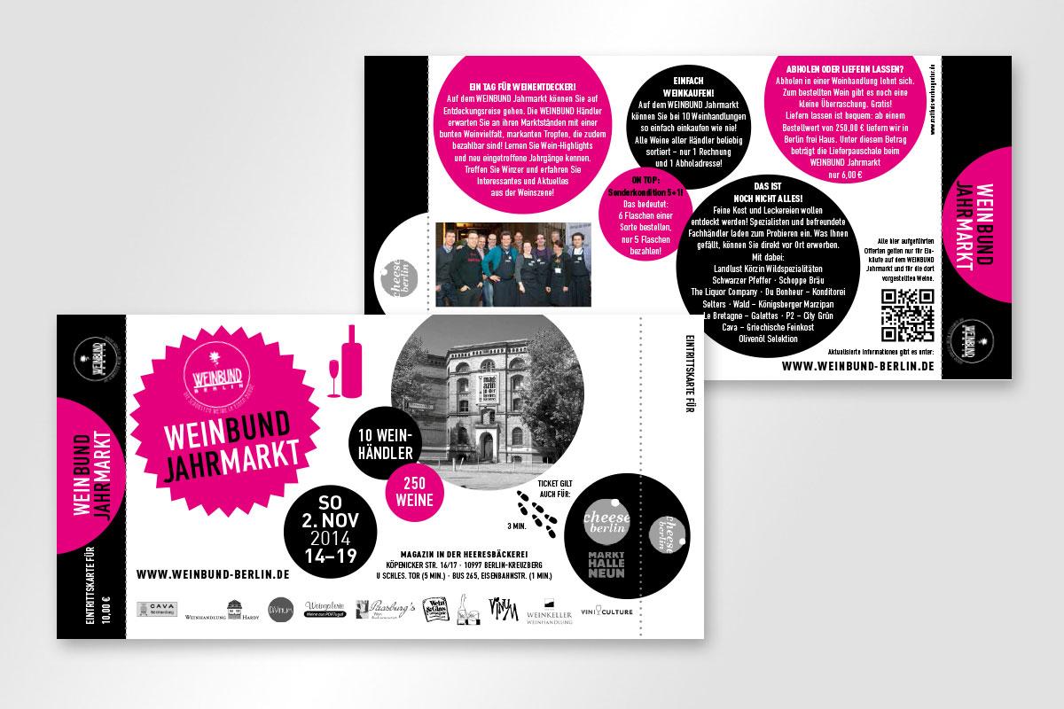 Eintrittskarte 2014 für Weinbund Jahrmakrt in der Heeresbäckerei Berlin