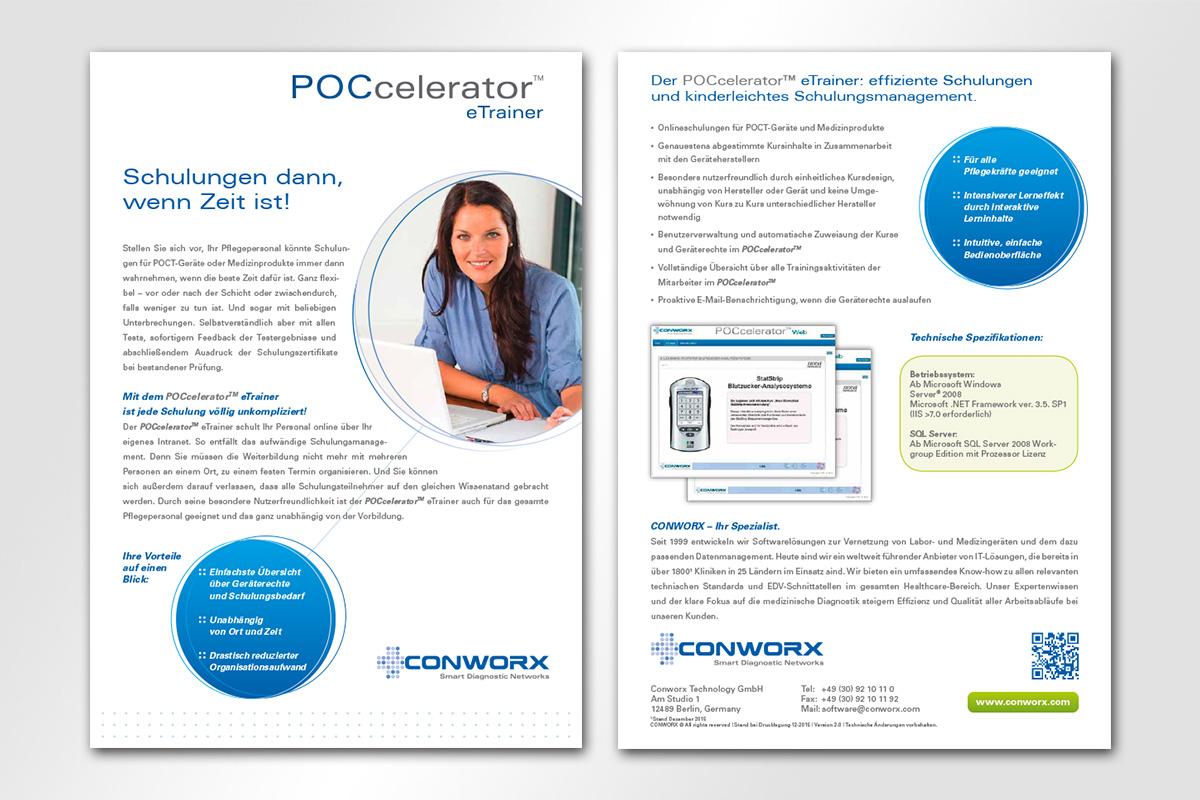 Conworx Flyer Poccelerator eTrainer, gestaltet von der mattheis. werbeagentur berlin gmbh