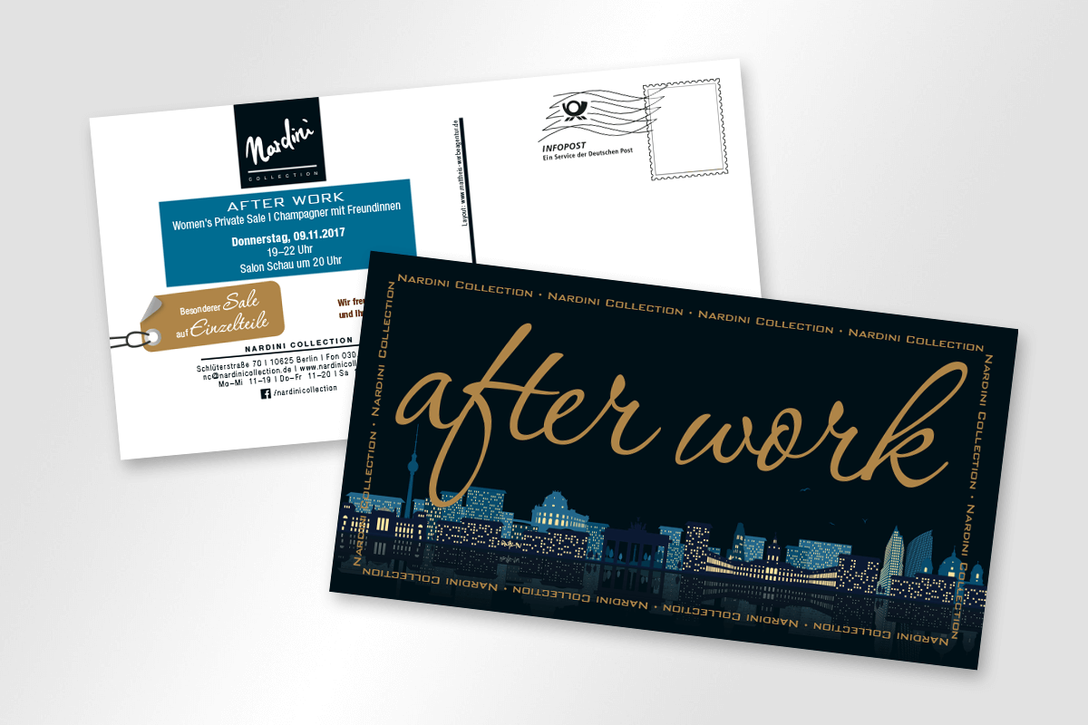 Flyer Mailing Nardini Collection After Work | mattheis. Werbeagentur