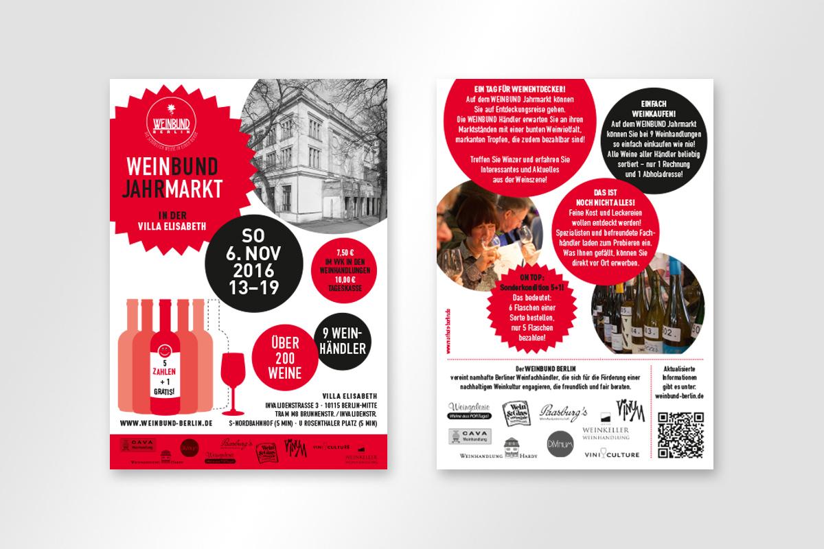Flyer DIN A6 für Weinbund Jahrmarkt 2016