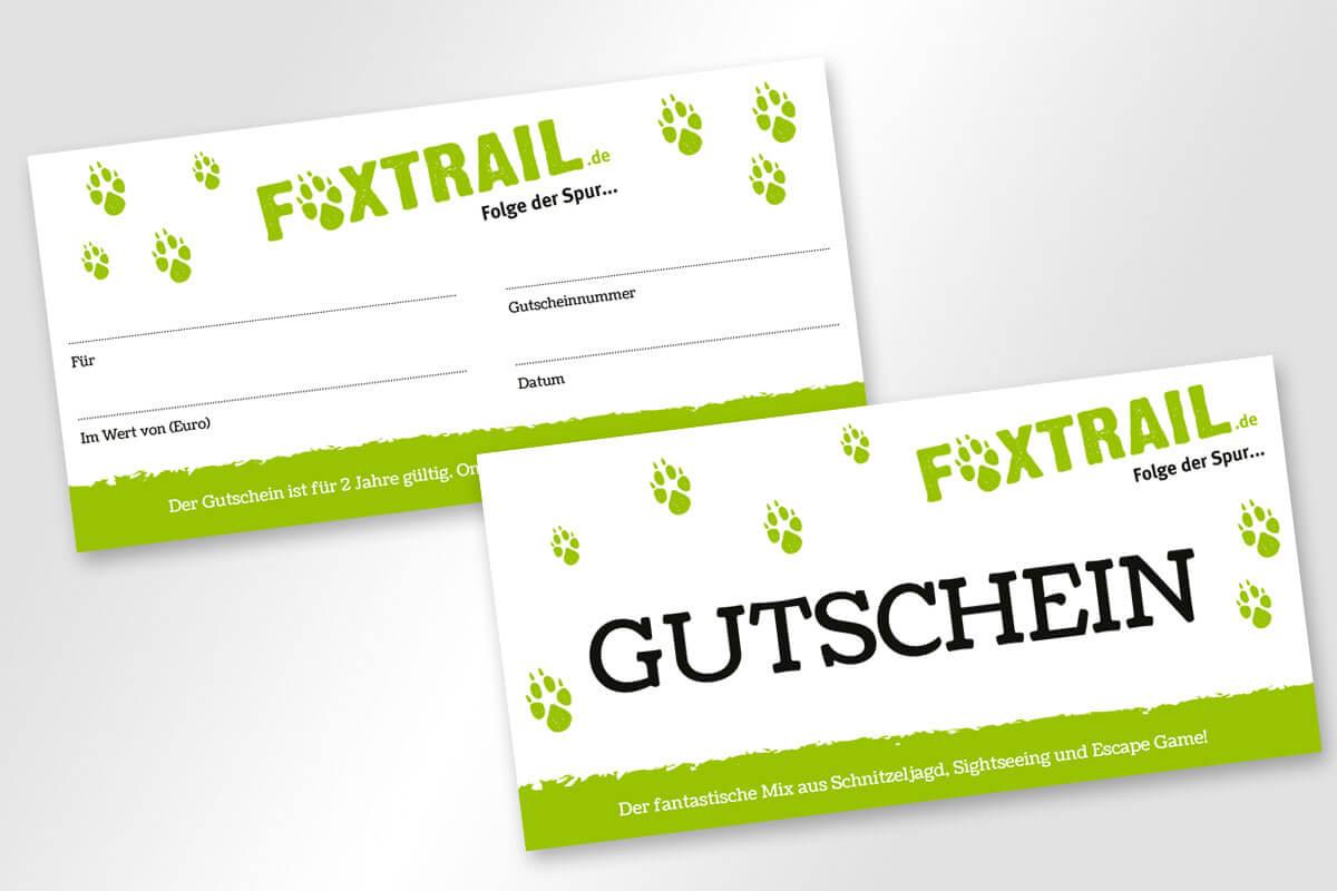 Corporate Design Foxtrail – Gutschein| Mattheis Werbeagentur