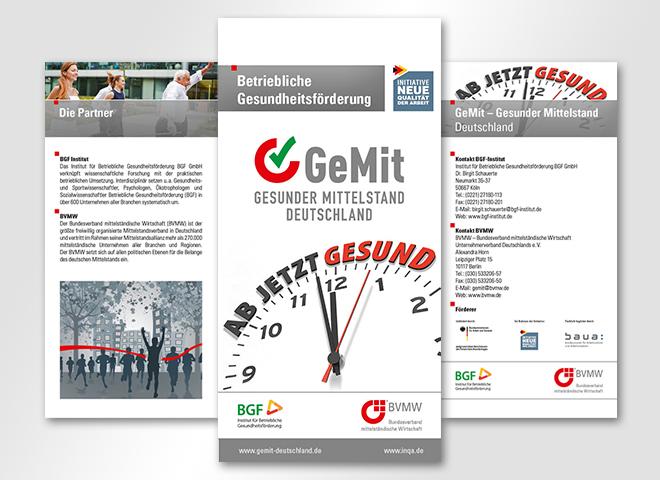 GeMit - Gesunder Mittelstand Deutschland – Ansicht 6 Seitiger Flyer für GeMit Gesunder Mittelstand Deutschland für die Betriebliche Gesundheitsförderung