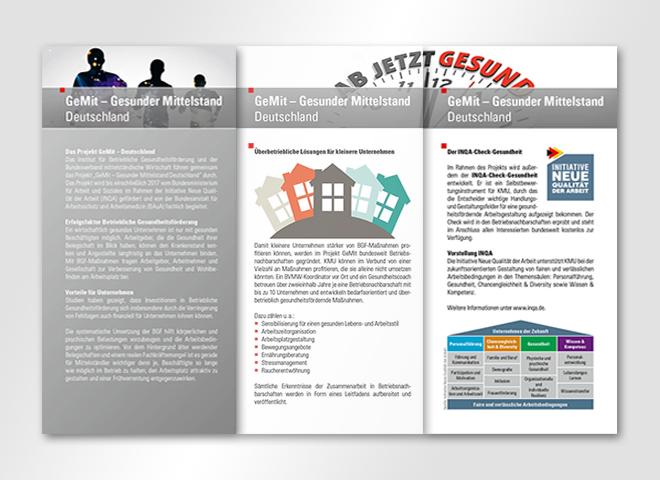 GeMit - Gesunder Mittelstand Deutschland– Innenseiten des 6 seitigen Flyers für Gesunder Mittelstand Deutschland