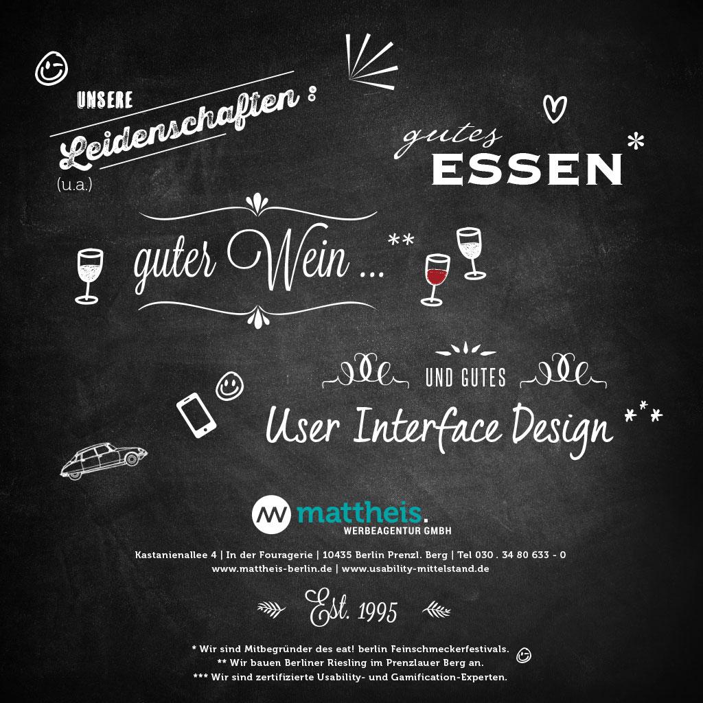 Mattheis Werbeagentur Leidenschaften: guter Wein, gutes Essen und gutes User Interface Design