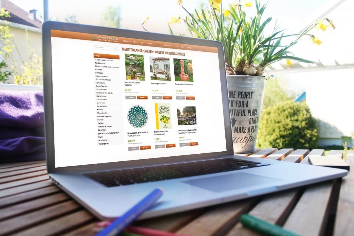 Laptop Ansicht des Ambiente Mediterran Shops | mattheis werbeagentur