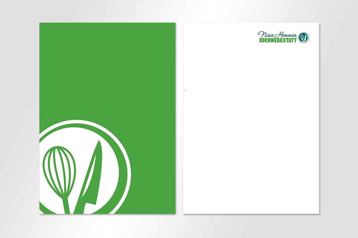 Nina Hemmen Koch Werkstatt Visitenkarten Briefbogen Geschaeftsausstattung Logo QR Code grün CD mattheis werbeagentur