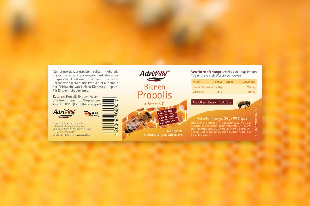 Etikettgestaltung für Bienen Propolis – Adri Vital D. Ramadani Nahrungsergänzung