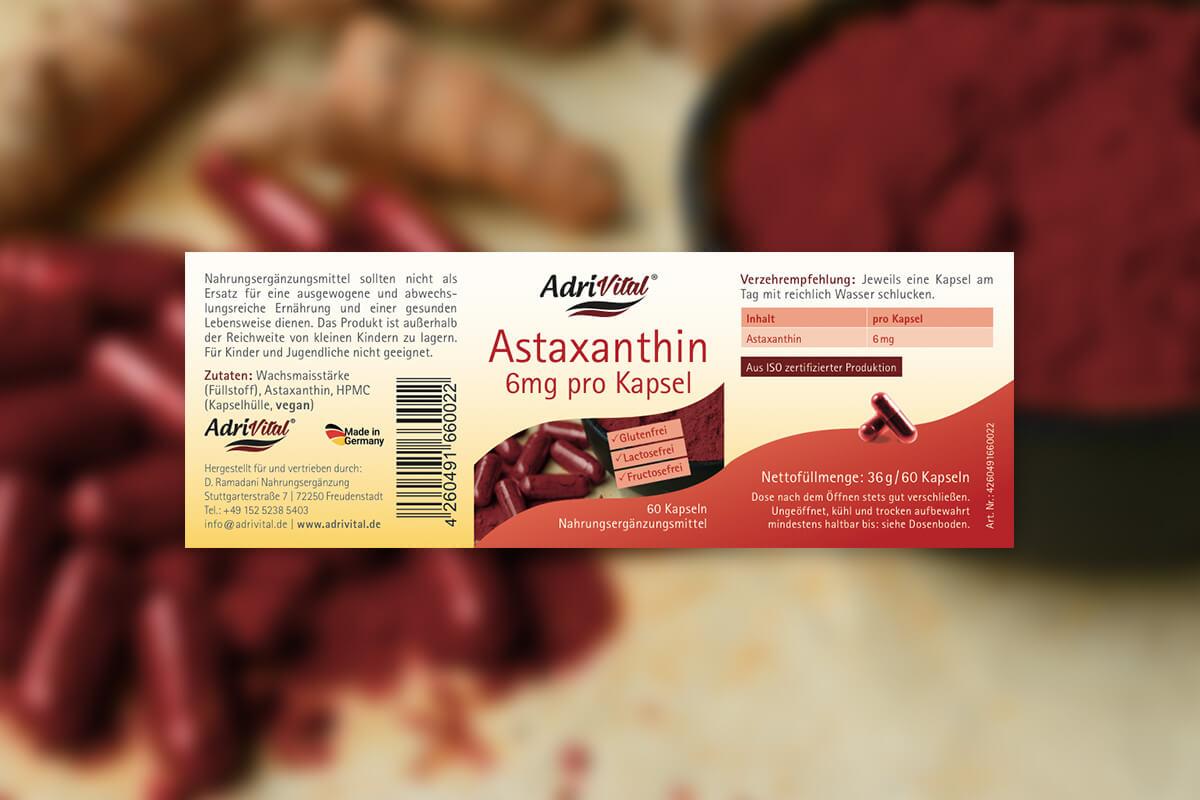 Verpackungsdesign Etikettgestaltung für Astaxanthin – Adri Vital D. Ramadani Nahrungsergänzung