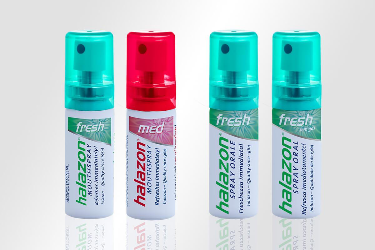 Verpackungsdesign Etikettengestaltung One Drop Only halazon Mundspray deutsch, englisch, potigiesisch und italienisch