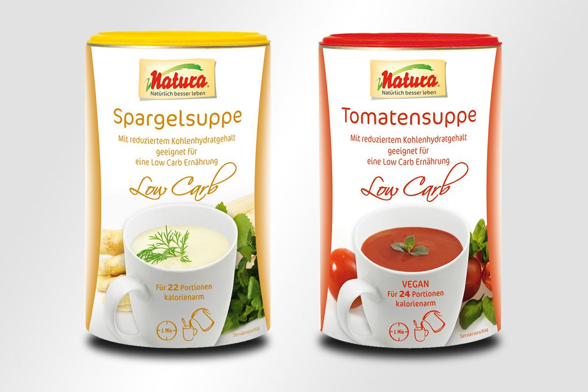 Natura Tomatensuppe Spargelsuppe Kohlsuppe Low Carb Ernährung Verpackung, mattheis werbeagentur gmbh