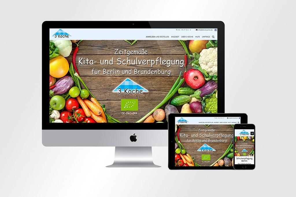 Webdesign Drei Köche | Mattheis Werbeagentur Berlin
