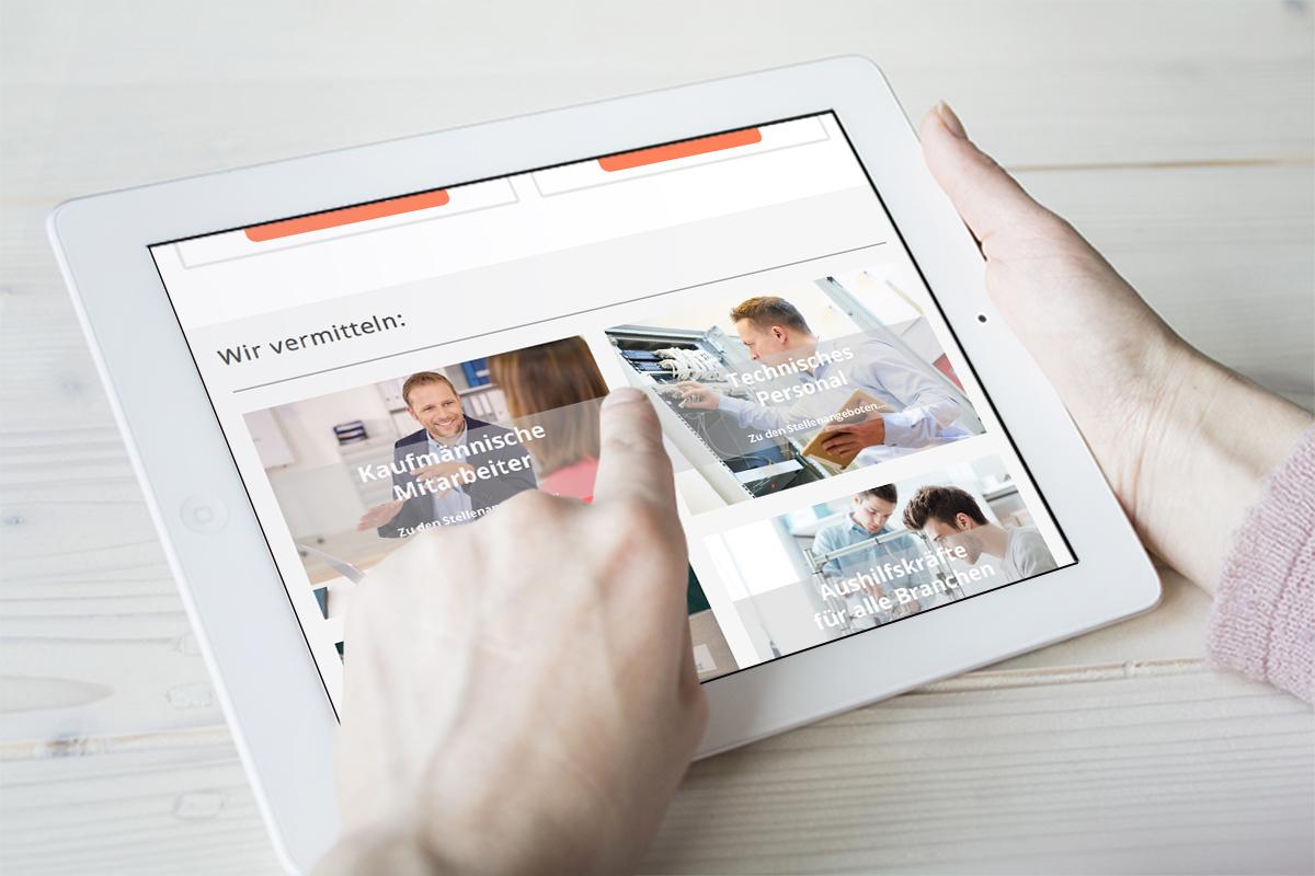 Responsive Webdesign mit Jobseek für H2 Personalmanagement auf dem Tablet
