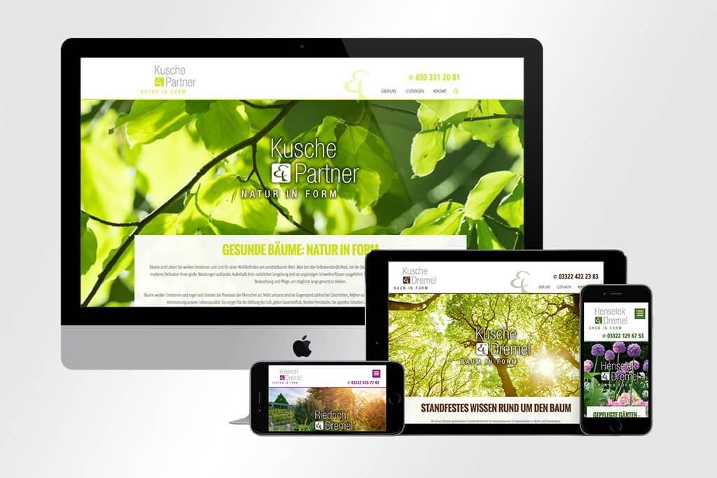 Responsive Webdesign Kusche und Partner, Kusche und Dremel, Heselen und Dremel und Riedich und Dremel