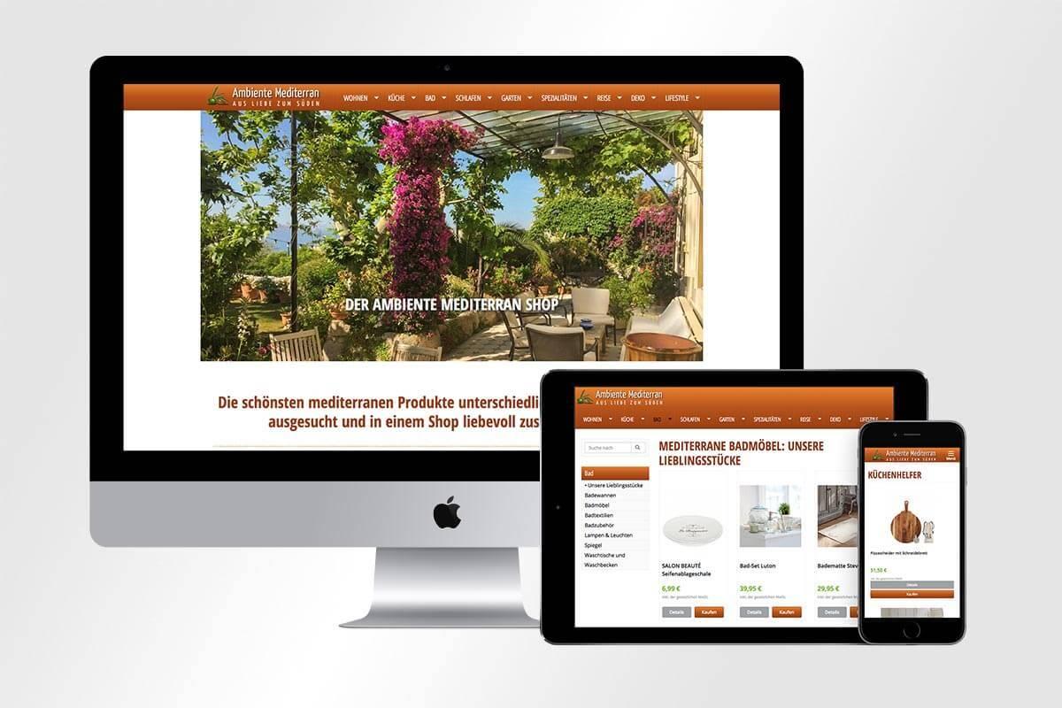 Responsive Webdesign des Ambiente Mediterran Shops | mattheis. Werbeagentur