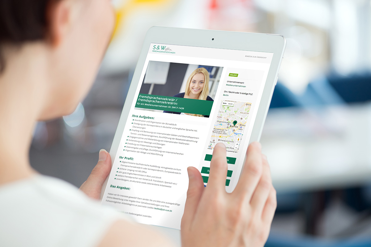 Responsive Webdesign mit Jobsee S & W Personaldienstleistungen Ansicht auf den Tablet