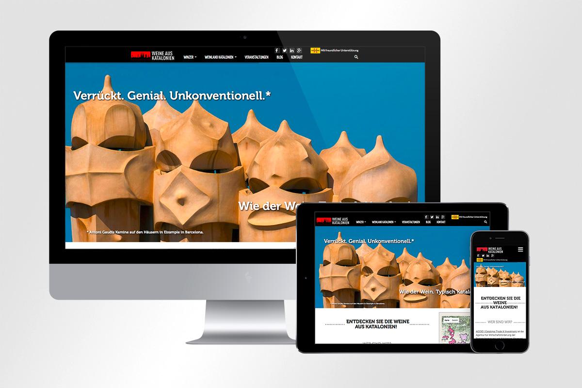 Responsive Website Weine aus Katalonien, ACCIO Wirtschaftsförderung