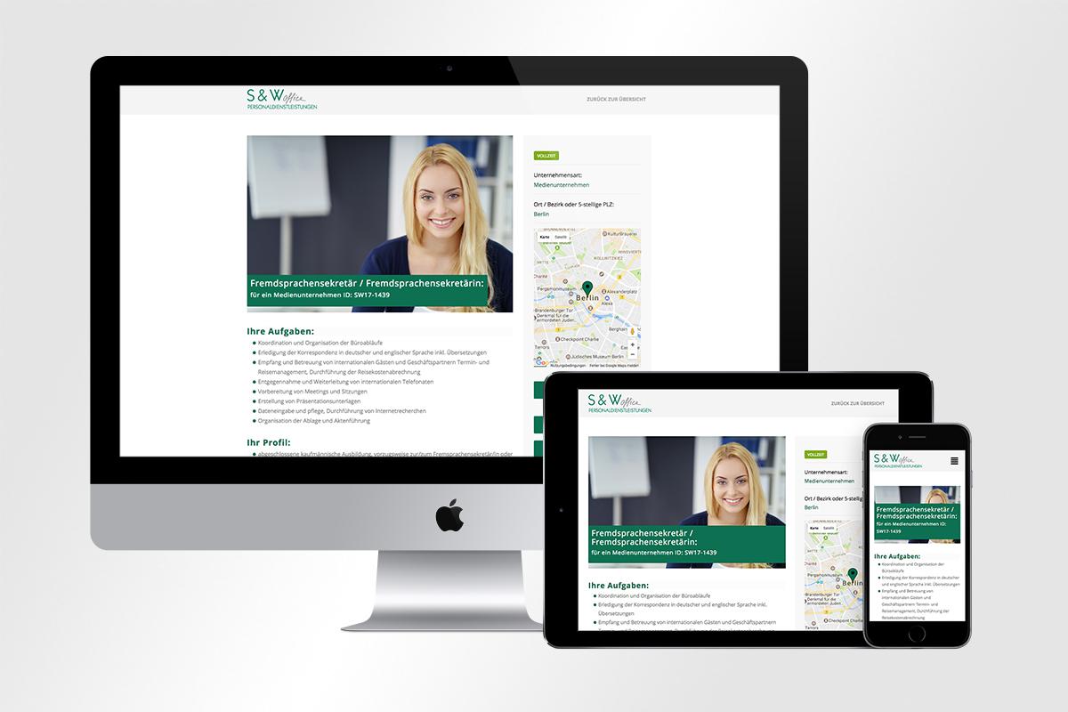 Responsive Webdesign mit Jobseek Stellenangebot für S und W Personaldienstleistungen