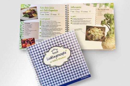 Gestaltung Kochbuch von den Mitarbeitern der WoBeGe Wohnbauten- und Beteiligungsgesellschaft mbH